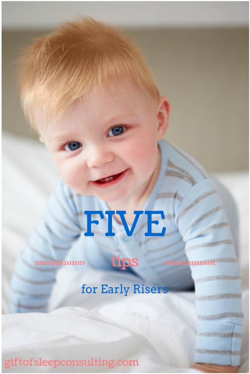 Morning wake time is getting earlier by the day and your baby is waking too early. These 5 tips will help you turn your early riser into a great sleeper.